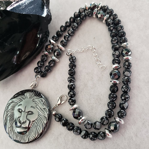 Snowflake Obsidian Necklace with Hematite Lion