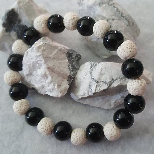 Onyx & White Lava Stone Bracelet