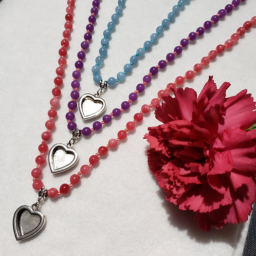 Dyed Quartz Heart Locket Necklace