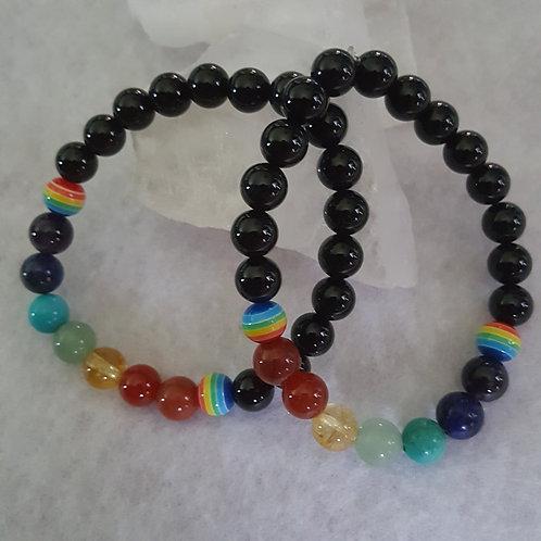 Chakra Balancing Bracelet w/Rainbow Beads