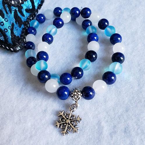 Lapis, Jade & Mermaid Quartz Snowflake Bracelet