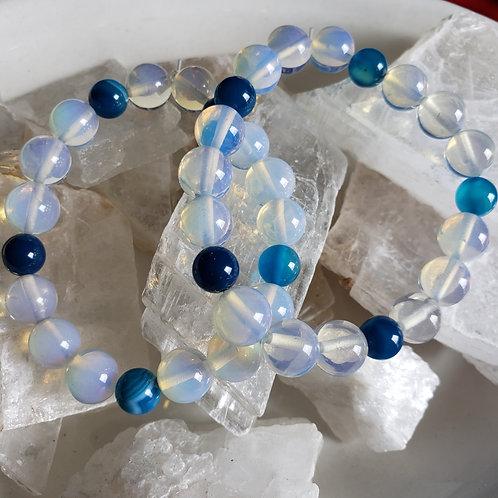 Opalite & Blue Agate Bracelet