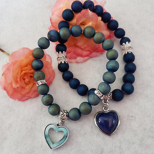 Agate Druzy Heart Bracelets