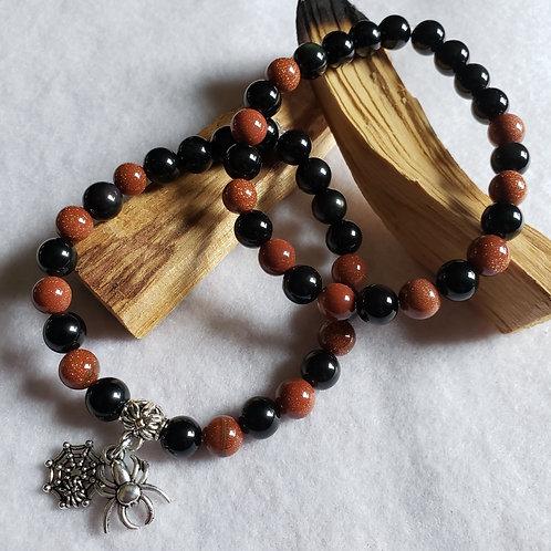 Goldstone & Obsidian Bracelet