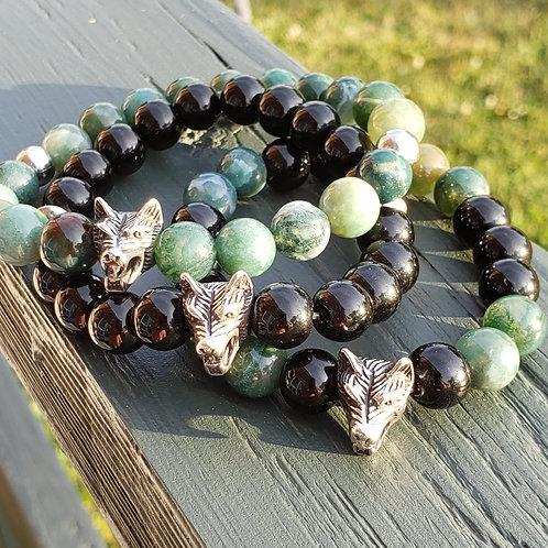 Moss Agate Wolf Bracelet