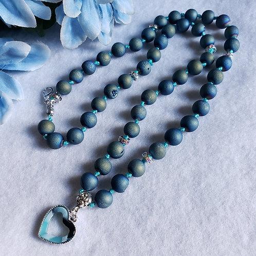 Druzy Agate Necklace w/Ceramic Heart