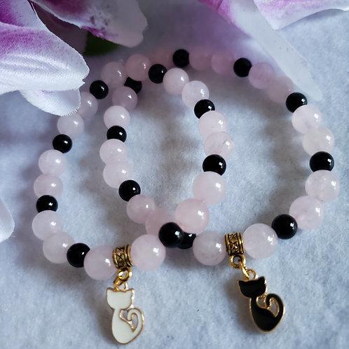Rose Quartz & Onyx Cat Bracelet