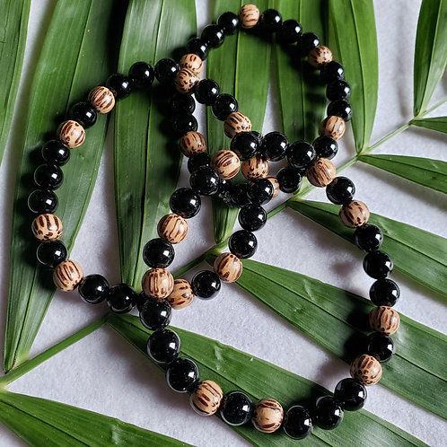 Black Onyx & Palmwood Bracelets