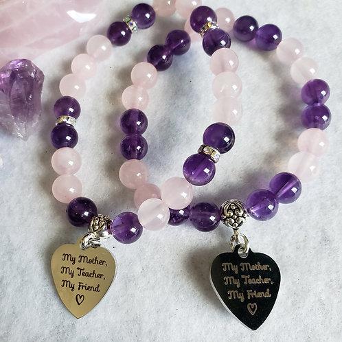 Amethyst & Rose Quartz Mother Bracelet