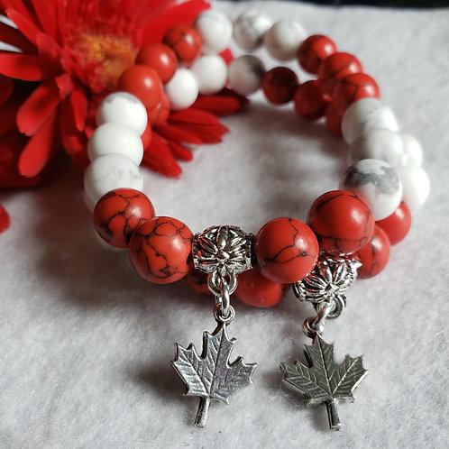 Maple Leaf Howlite Bracelet