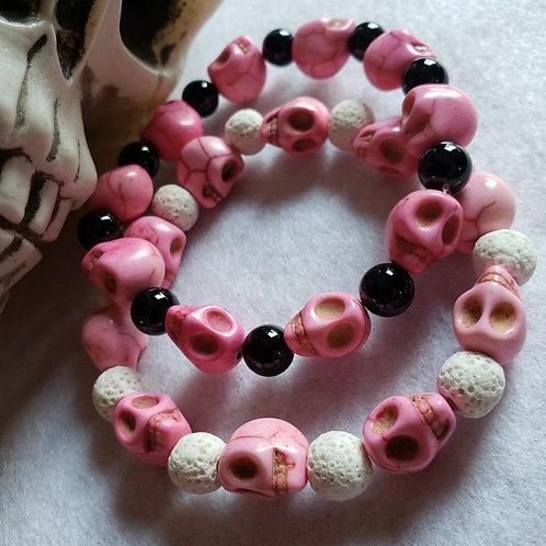 Pink Howlite Skull Bracelet