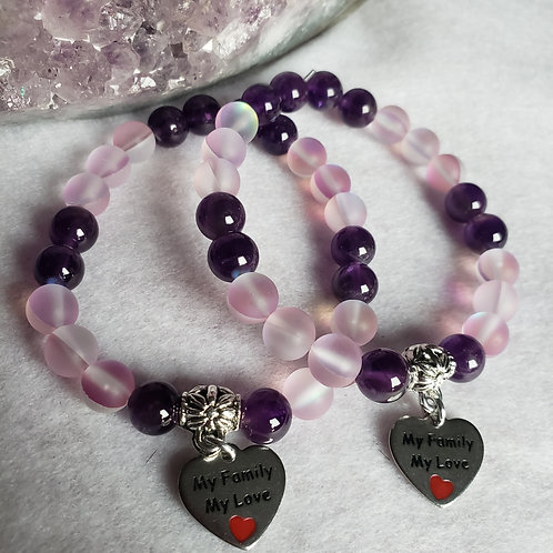 Mermaid Quartz & Amethyst Bracelet Set