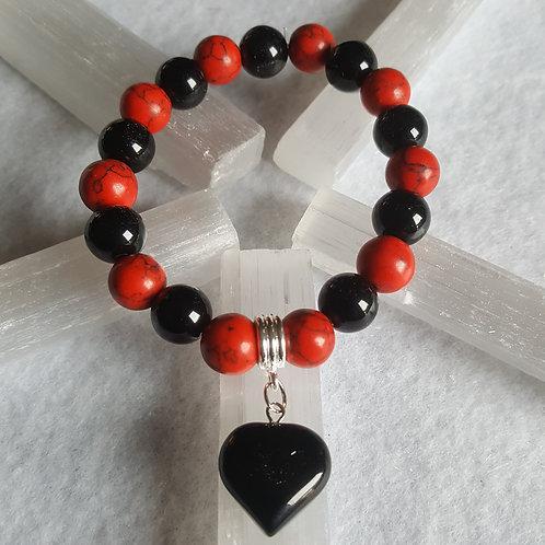 Red Howlite & Onyx Heart Bracelet