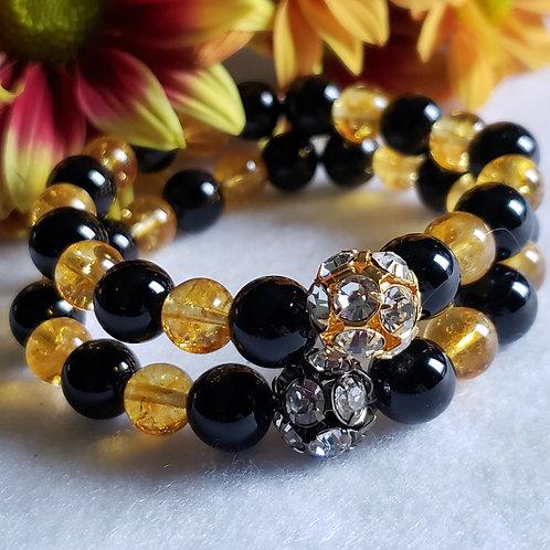 Citrine & Obsidian Crystal Bracelet