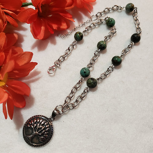African Turquoise Necklace - Tree Of Life
