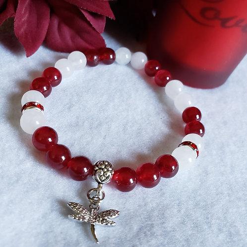 Red & White Jade Dragonfly Bracelet