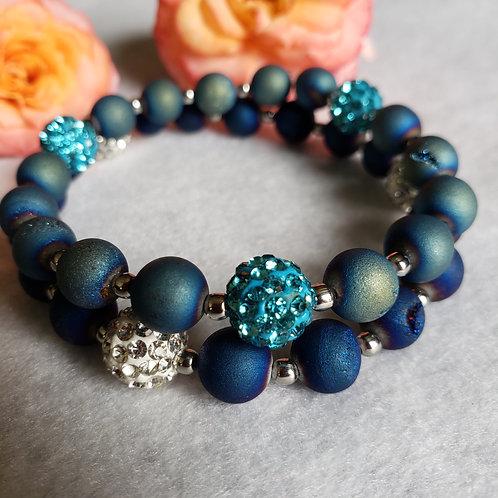 Agate Druzy Bracelet w/Disco Balls