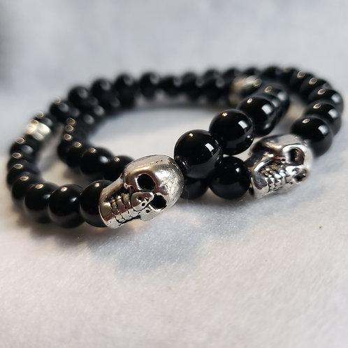 Black Onyx Skull Bracelet