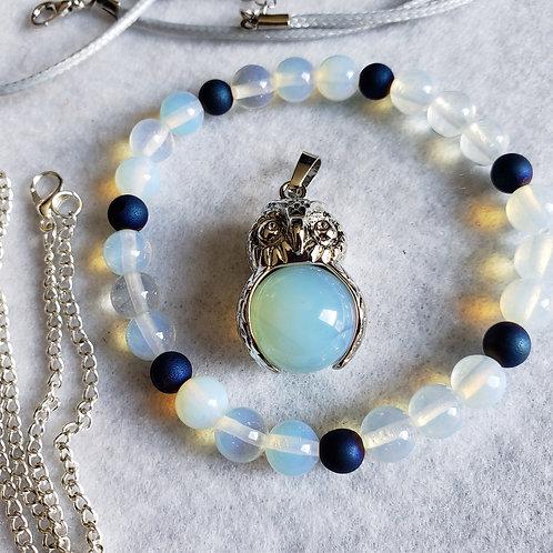 Opalite Owl Bracelet & Necklace Set