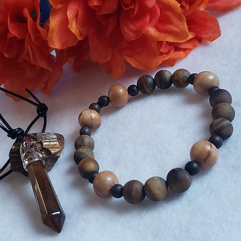Natural Wood & Tiger Eye Bracelet