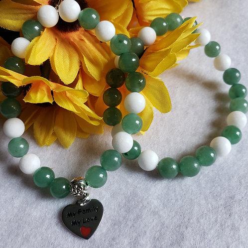 Green Aventurine & Dyed Quartz Bracecelet