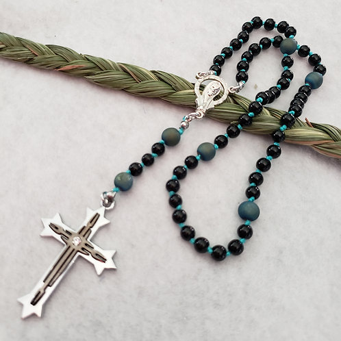 Green Agate Druzy Rosary