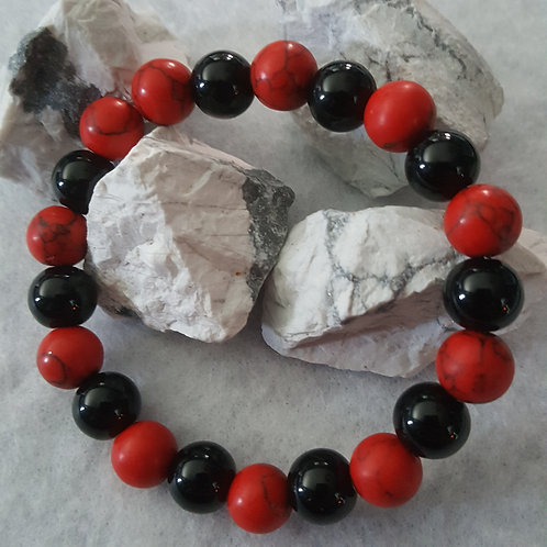 Red Howlite & Onyx Bracelet