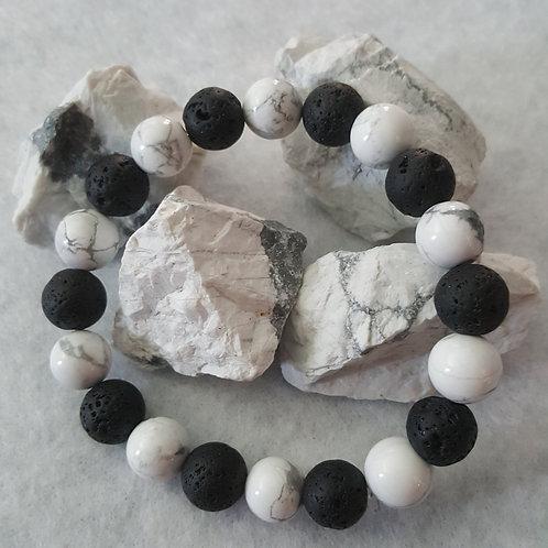 Howlite & Black Lava Stone Bracelet