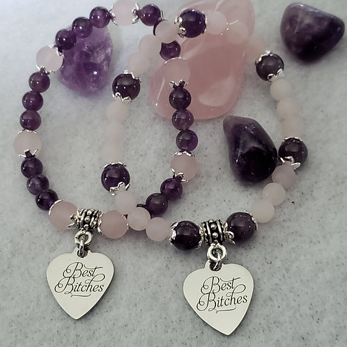 Amethyst & Rose Quartz Best Bitches Bracelet Set
