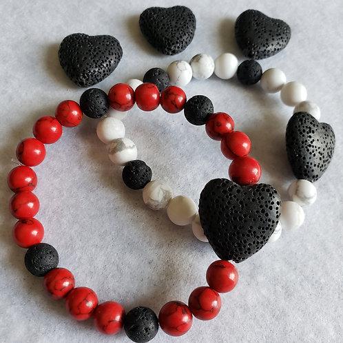 Howlite & Lava Heart Aromatherapy Bracelet