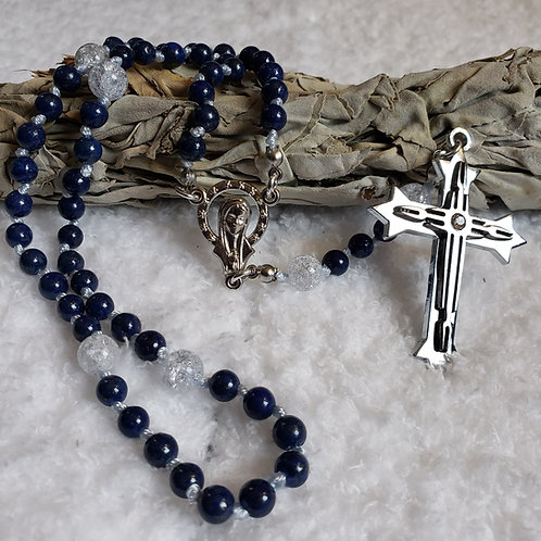 Lapis & Cracked Quartz Rosary