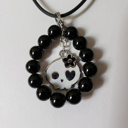Sugar Skull Onyx Necklace