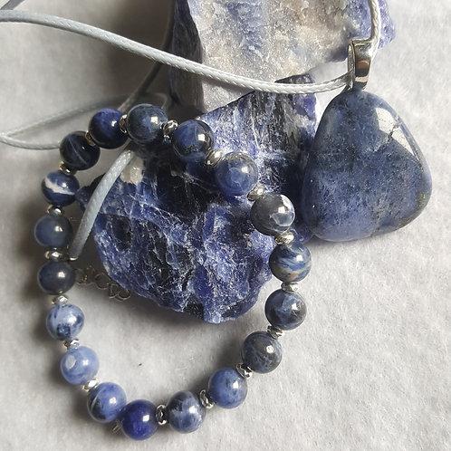 Sodalite Bracelet & Necklace Set