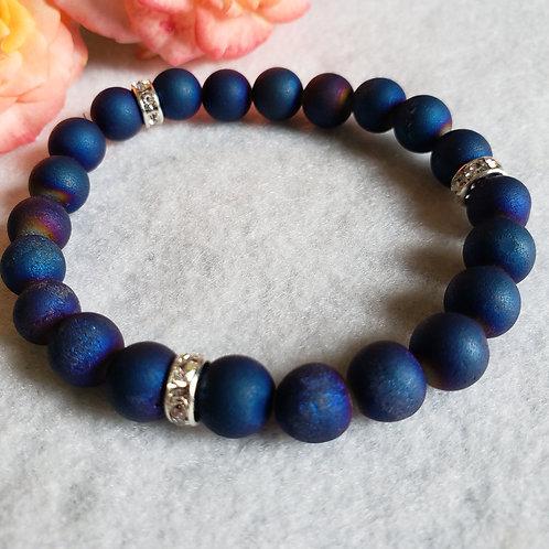 Blue Agate Druzy Bracelet w/spacers