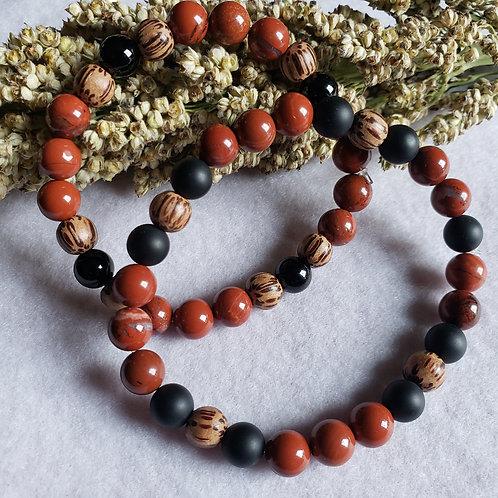 Jasper, Onyx & Palmwood Bracelet