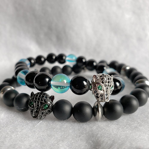 Couples Panther Bracelet Set