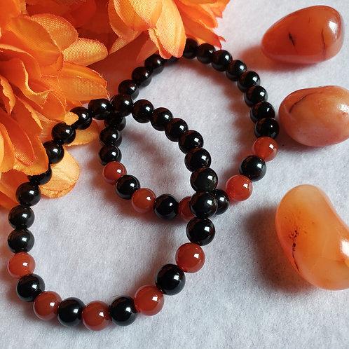 Obsidian & Carnelian Bracelet