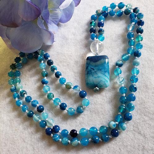 Blue Banded Agate Mala