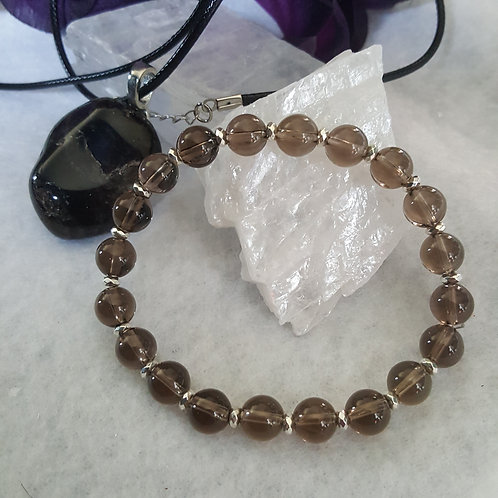 Smoky Quartz Necklace & Bracelet Set