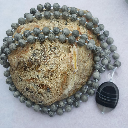 Grey Picture Jasper Mala Necklace
