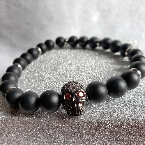 Pave Skull Black Onyx Bracelet (Red Eyes)