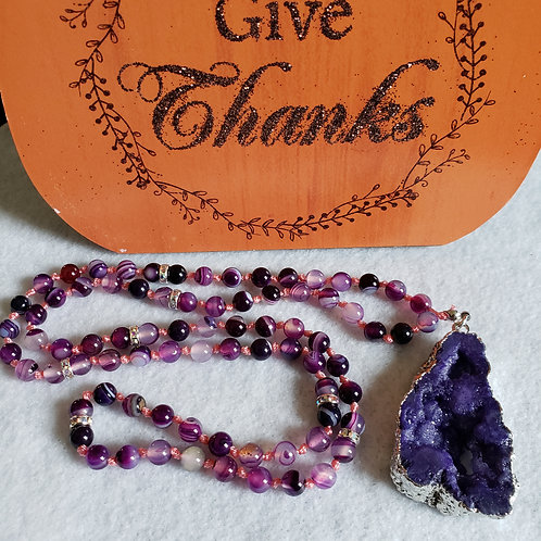 Purple Banded Agate Necklace w/Agate Geode Pendant