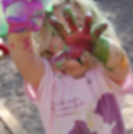 Children's Discovery Center Austin Preschool Nature-based Reggio Emilia Paint Hands