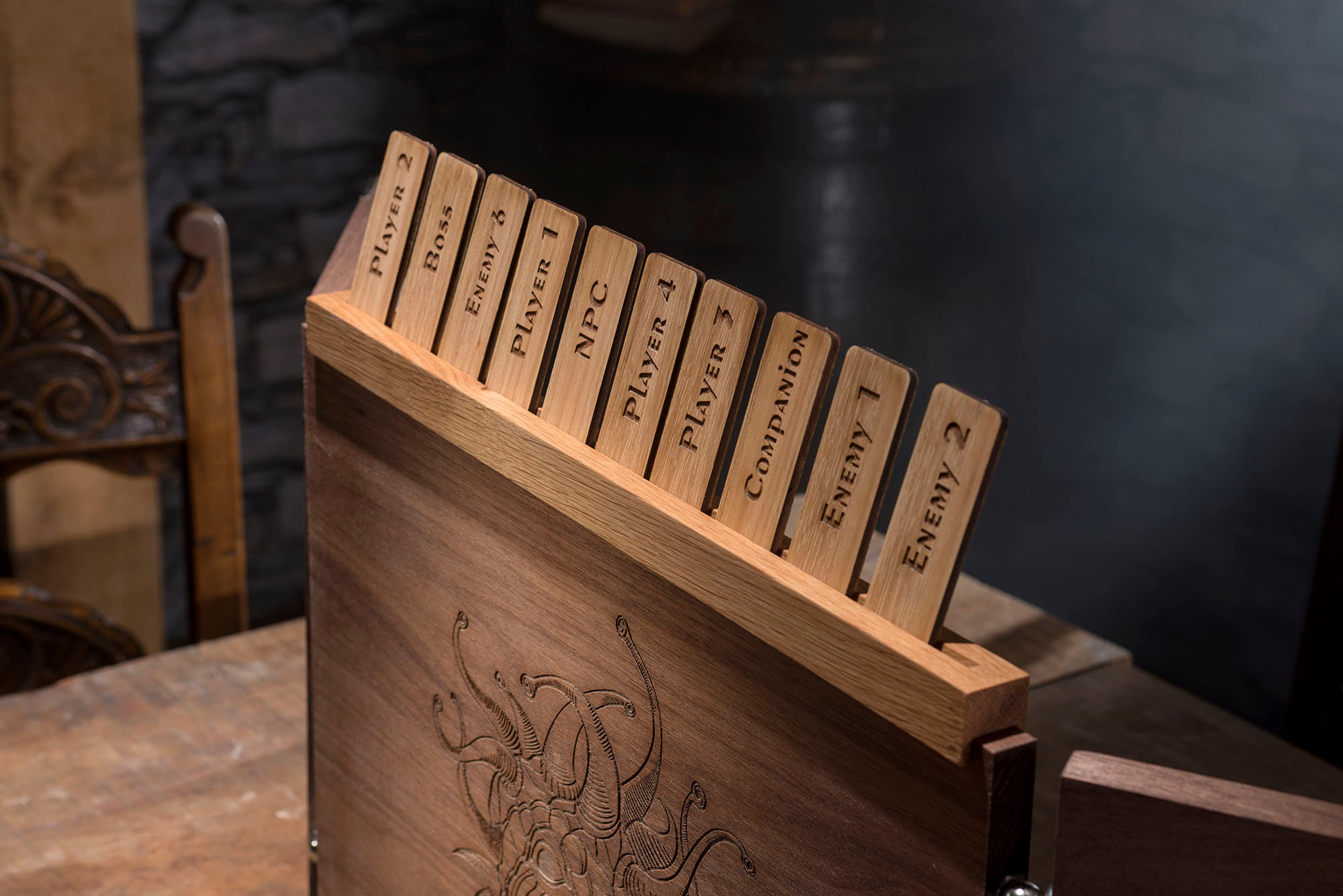 Large Wooden Dungeon Master Screen with Engraved Dragons