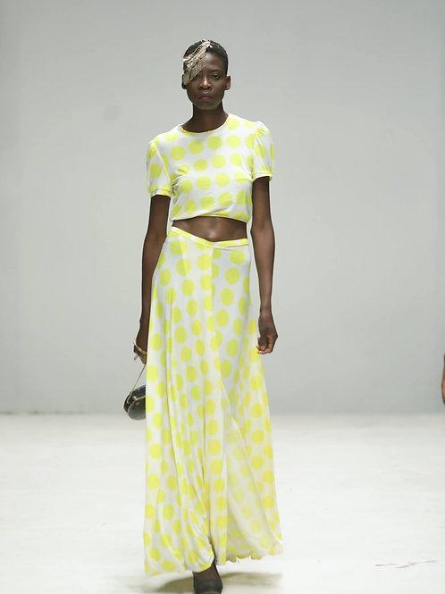 Polka-dot front & back Wrap skirt & top