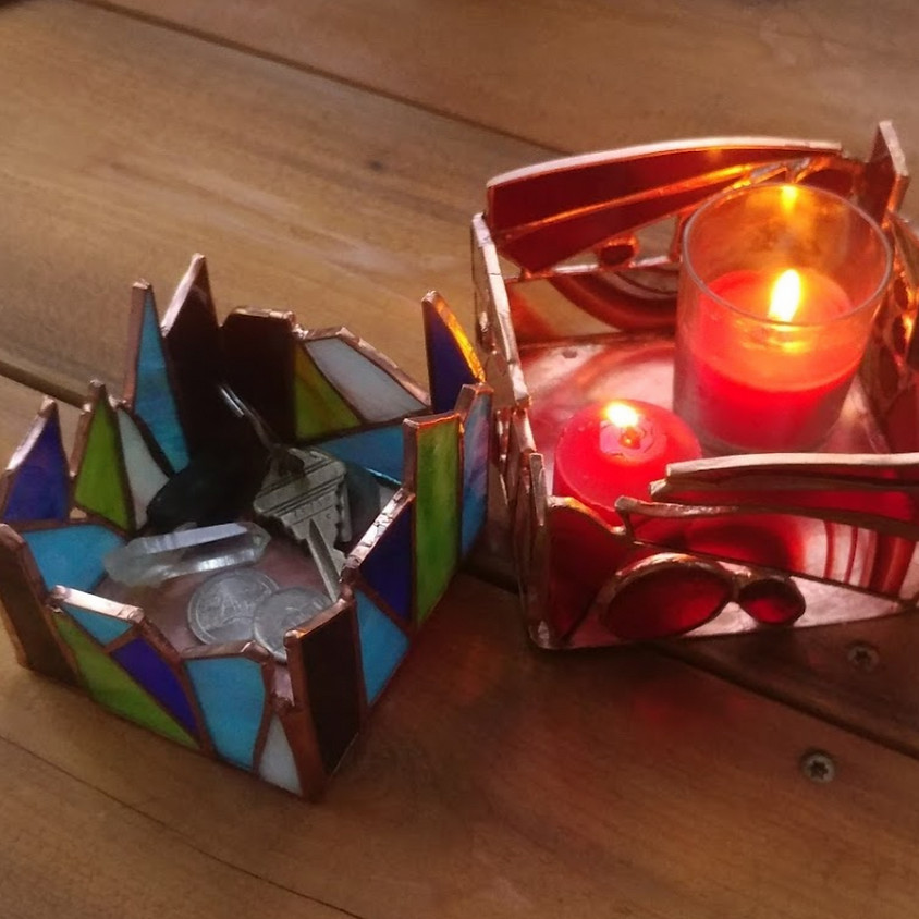 Stained Glass-  Candle Holder