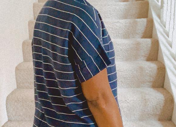 Navy Blue/White Stripe Shirt Dress