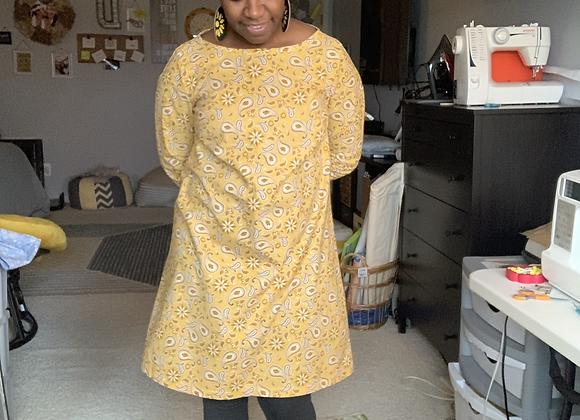 Maven French Dart Dress - Yellow Paisley