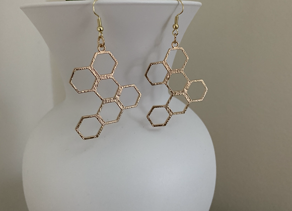 Honeycomb Earrings - Gold
