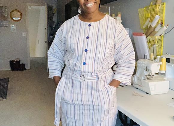 Simplicity8907 - White Stripe Dress